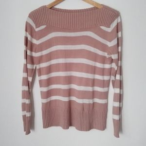 Poof Stripped Wide Collar Long Sleeve Sweater
